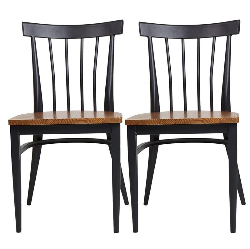 2PCS Metal Legs Dining Chair Wooden Chair in Black Walnut ...