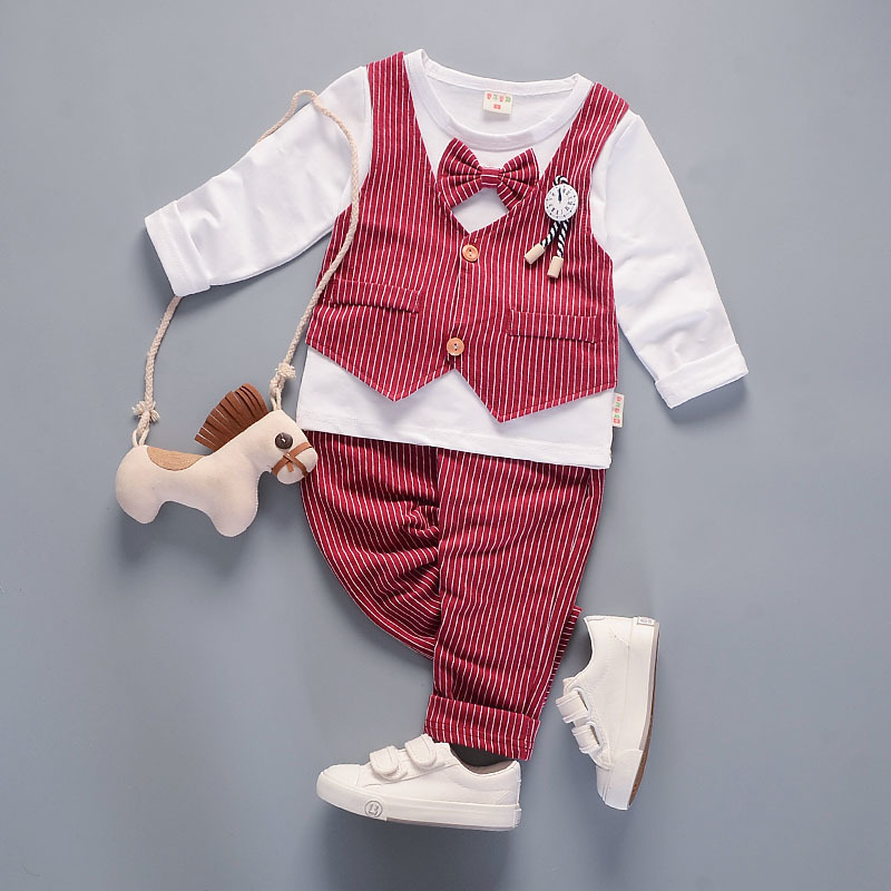 2017 New Kids Clothes  Outfit Boys Long Sleeve T Shirt  Pants Sets Of Autumn  Assembly Bow Tie 2 Sets Covered Baby Children Suit 2015 new arrive super league christmas outfit pajamas for boys kids children suit st 004