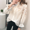Embroidery female blouse shirt Casual white striped shirt 2017spring cool long sleeve blouse women tops