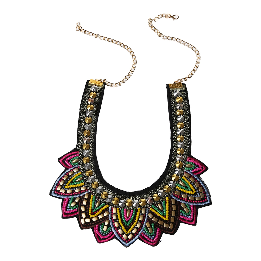 Handmade Cloth Tailor Colorized Resin String Ethnic Chokers Necklaces Charming Collar Statement Jewelry mix multicolor