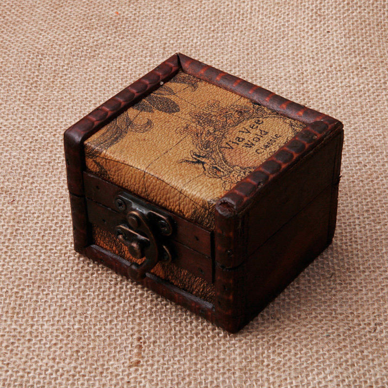 Vintage Wooden Map Storage Box Case Jewellery Cufflinks Chest Small Gift New
