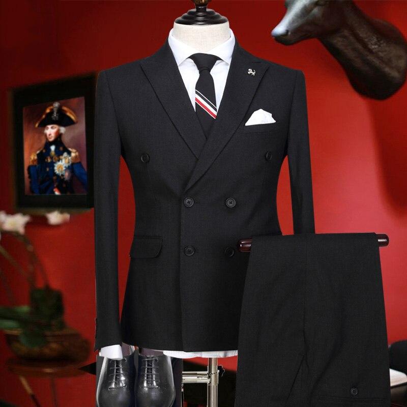 Men Suit Tuxedo 2 Pieces Set Double Breasted Black 2017 Slim Fit Wedding Groom Suits Set For Men Autumn Winter Formal Suits Set