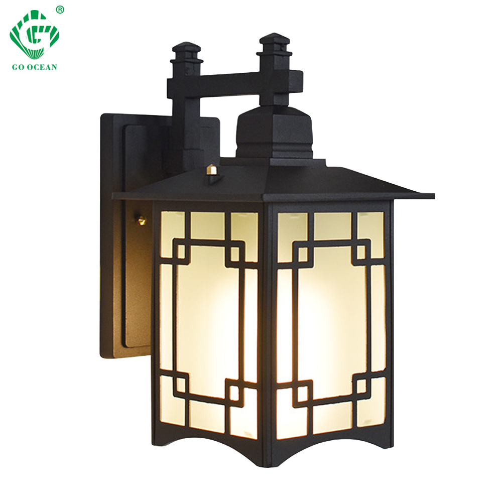 Lighting Fixtures Led Wall Lamp Outdoor Ip65 Porch Sconce Lighting Fixtures Black E27 Bulb For Garage House Courtyard Outside Modern Wall Lights