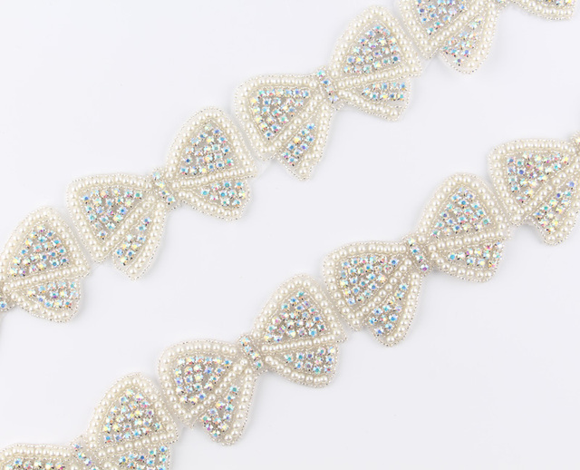 10Yard Handmade Cute Pearl Bow Rhinestone Applique Patch Trim Hot-Fix  Crystal Pearl Applique Trimming 8b6993b332ff