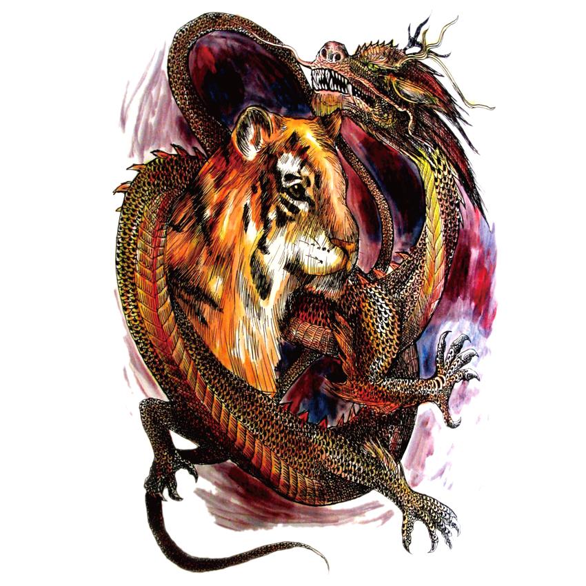 5pcs Waterproof large Tiger and Dragon Temporary Tattoo Stickers big full back Tattoos Men and Women Fake Tattoo sticker 1