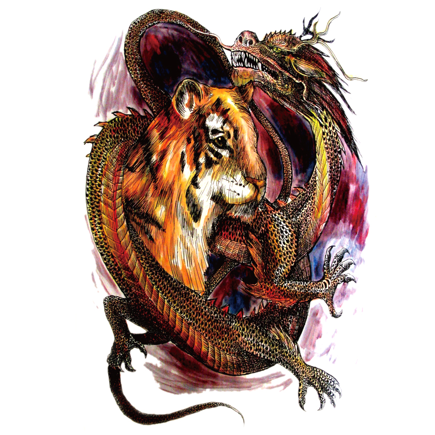 5pcs Waterproof large Tiger and Dragon Temporary Tattoo Stickers big full back Tattoos Men and Women Fake Tattoo sticker 1