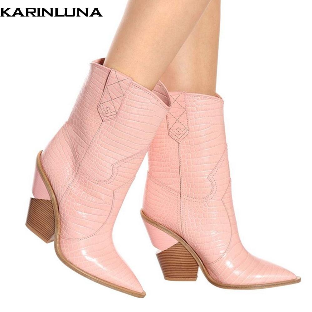 KARINLUNA brand design new 2019 plus size 48 western boots women shoes retro fashion pointed toe strange heels boots womanKARINLUNA brand design new 2019 plus size 48 western boots women shoes retro fashion pointed toe strange heels boots woman