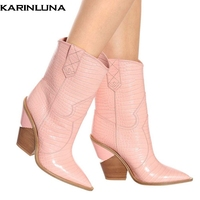 KARINLUNA brand design new 2019 plus size 48 western boots women shoes retro fashion pointed toe strange heels boots woman