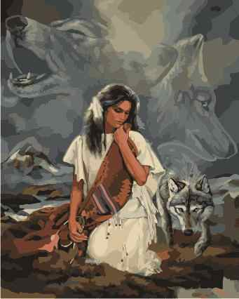 Frameless Picture On Wall Acrylic Paint By Numbers Diy Painting Oil Painting Coloring By Numbers Beautiful women and the Wolf