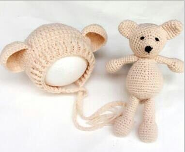 105c86dd19d Hand Crochet Knitted Baby Hat Teddy Bear Bonnet Photography Photo Prop