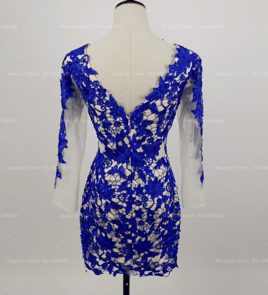 Azul real Vestido de Cóctel de Encaje de Manga Larga de Las Mujeres ...