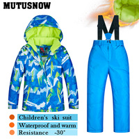 2018 Ski Suit Children's Brands High Quality Skiwear Windproof Waterproof Girls Boys Snow Pants Warm Child Winter Snowboard Suit