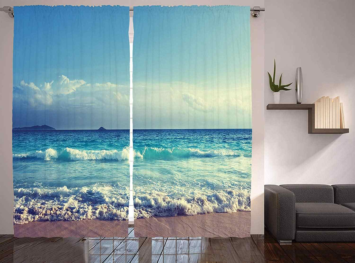 Tropical Island Decor Curtains Ocean Waves Seychelles Beach in Sunset Time Window Drapes for Living Room Bedroom