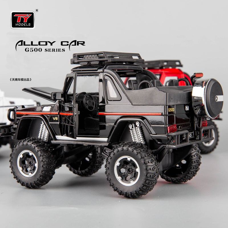 4x4 G500 Convertible Large Tire Off-road Alloy Car Model Children Toy Car Cullinan Pull Back Car Toy Sound Light 1:32simulation