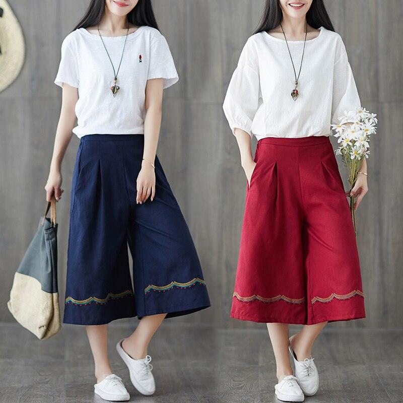 Wide     Leg     Pants   Summer 2019 Chinese Style Women Ethnic Vintage Elastic Waist Loose Cotton Linen Trousers