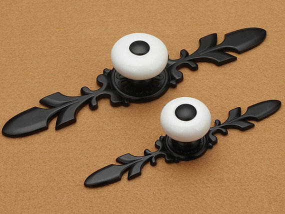 French Country Black White Dresser Drawer Pulls Back Plate Rustic Kitchen Cabinet Handle Pull Furniture