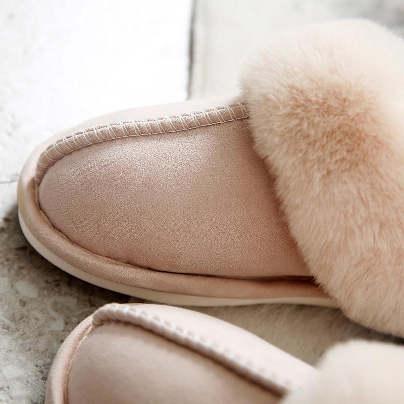 Lizeruee Fashion 2019 Women Fur Slippers Winter Slippers Women Warm Home Soft Shoes Flat Cotton Lovers Slippers Plush House Shoe