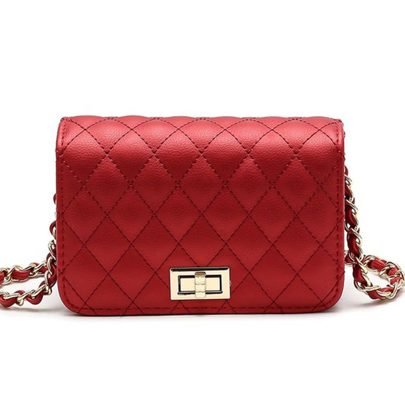 Women Bag Female Handbags Leather Over Shoulder Bag Crossbody Quilted Chain Diamond Red Small Flap Lock Fashion Sling Lady Bags