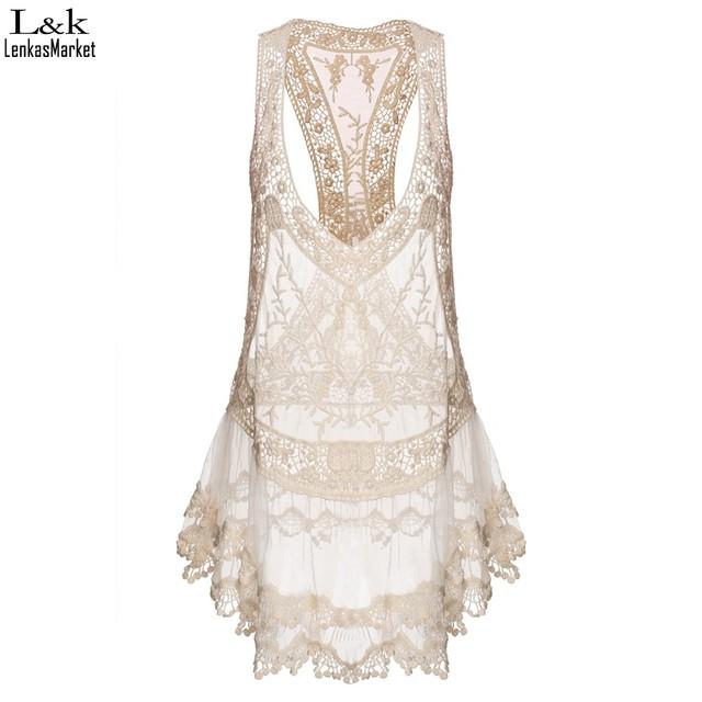 Casual Beige Lace Beach Mini Dress
