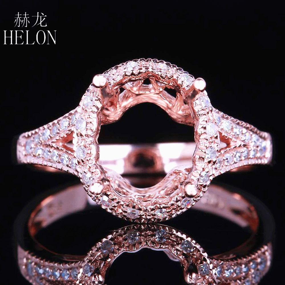 HELON 10x8mm Oval Solid 10K Rose Gold Pave Natural Diamonds Ring Setting Semi Mount Engagement Wedding Fine Ring Ladies Jewelry