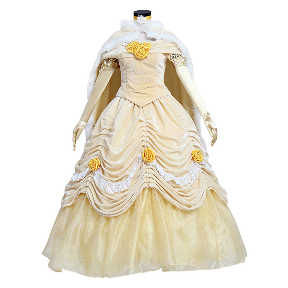 Beauty and The Beast Princess Belle Dress Costume With Cloak Cape Adult Women's Halloween Party Fancy Yellow Dress Custom Made