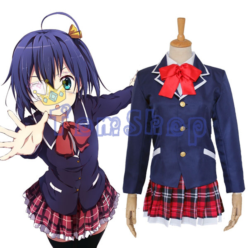 Anime Love Chunibyo & Other Delusions Girls' School Uniform Rikka Takanashi Cosplay Suit Women's Halloween Party Event Costumes