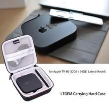 Ltgem estojo de transporte preto para apple tv 4k, (32gb/64gb, modelo mais recente)