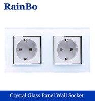 Wall Socket Euro Standard Power Socket White Glass Panel AC Wall Power Smart Outlet Socket Adapter