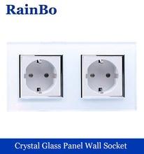 rainbo Wall EU power wall Socket  Standard Power Socket White Glass Panel AC Wall Power smart outlet   Free Shipping  A28E8EW/B