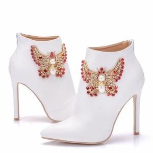 Image 4 - Bottines pour femmes, chaussures à la mode Crystal Queen, chaussures pour équitation de mariage, Sexy à talons hauts, avec fermeture éclair