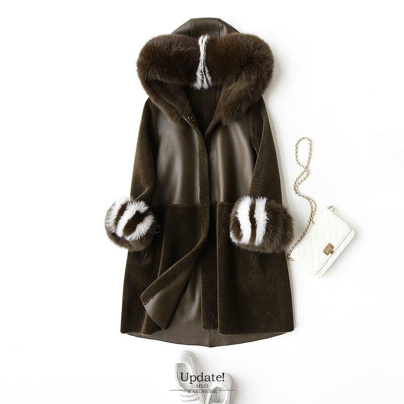 Revestimento das mulheres jaqueta Casaco feminino casaco de pele Mouton casaco de lã das Mulheres casacos de inverno da pele das mulheres de pele real casacos de inverno