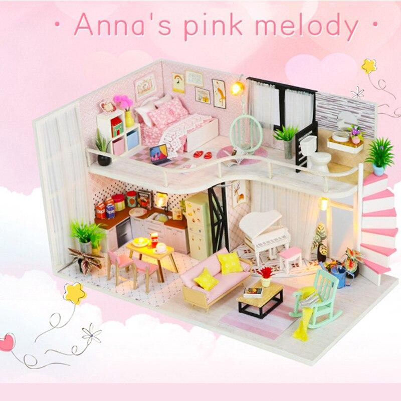 Hongda maison de poupée en bois bricolage cabine jouet Anna rose mélodie maison de poupée modèle de construction créative lumière anniversaire cadeau de noël M035