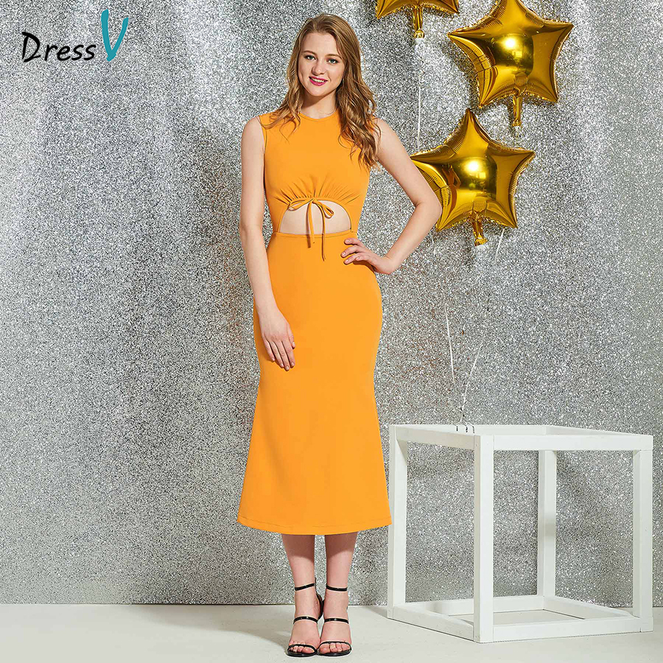 Dressv Light Earthy Yellow Cocktail Elegant Sheath Tea Length Zipper Up Wedding Party Formal Dress Scoop Neck Cocktail Dresses