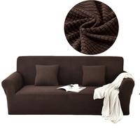 Brown Flannel Plaid Corner Sofa Slipcovers For Living Room Couch/Loveseat/Sectional Sofa Slipcovers Stretch Furniture Covers