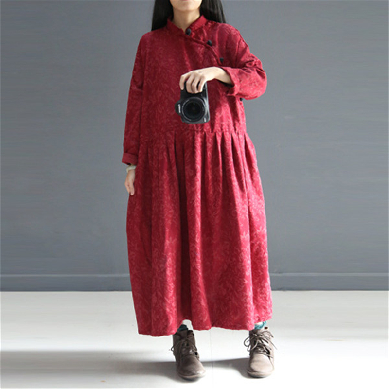 Johnature Women Maxi Dress Stand Vintage Loose 2019 Autumn Black Red Print Floral Button Long Sleeve