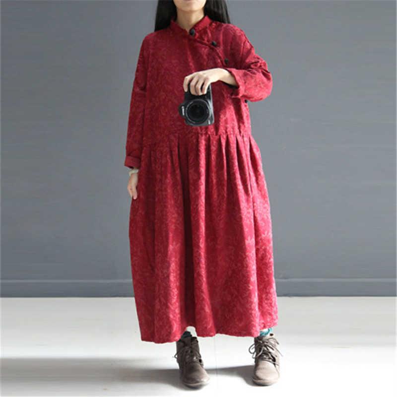 Женская Макси-платье со стоячим винтажным свободным 2019 осенним черным красным цветочным принтом с пуговицами и длинным рукавом, повседневное длинное платье, халаты