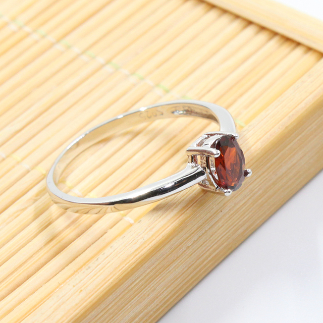 Promozione 925 anello d'argento intarsio con 4mm * 6mm naturale vino rosso granato anello d'argento per la cerimonia nuziale solido argento 925 granato gioielli