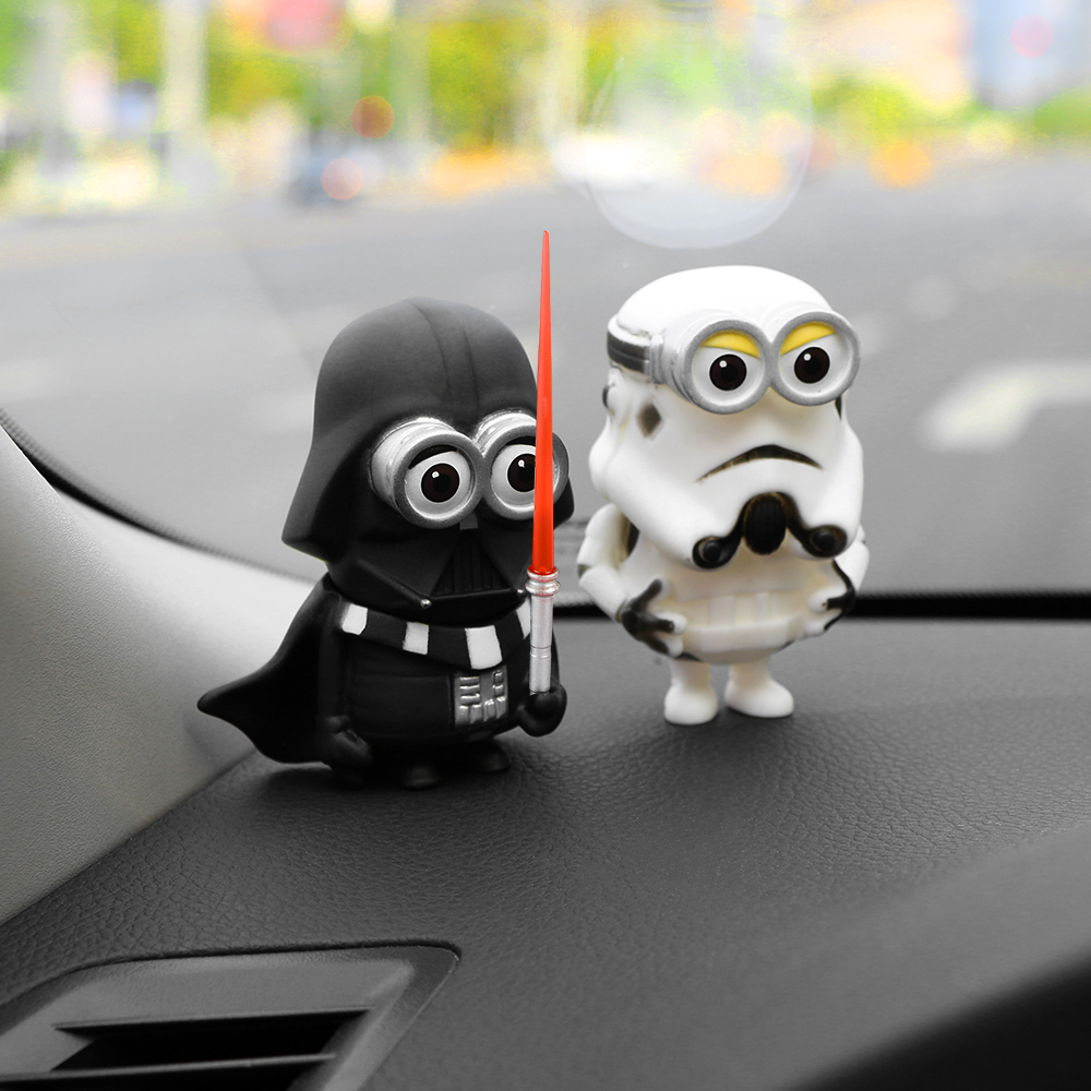 Car accessories cosplay dolls for star wars dashboard toys creative ornaments black white sword heroes toys car interior decoration ornaments