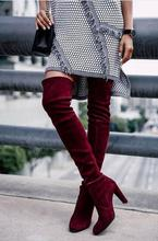 2016 highland over the knee boots wine black grey suede thigh high boots street style women's long boots chunky high heel boots women suede fashion side zipper over the knee boots comfortable square heel thigh elastic boots black wine red beige