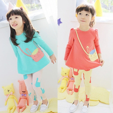 Baby Girl Clothing Set 2 3 5 7 8 Year Cartoon Cat Children Clothes Suit Cotton Spring Kid Suit Long Sleeve + Pant 2pcs for Girl цены
