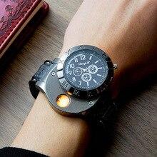 Военная Униформа Авто прикуриватели часы для мужчин часы зарядка через usb Беспламенного ветрозащитная Зажигалка Мужчин's электронные наручные часы PJ