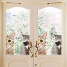 Funny 3D Cat Raccoon Half Face Peeking Wall Stickers For Home Door Decorations Cute Animal Window Car Decor Pvc Mural Art Decals