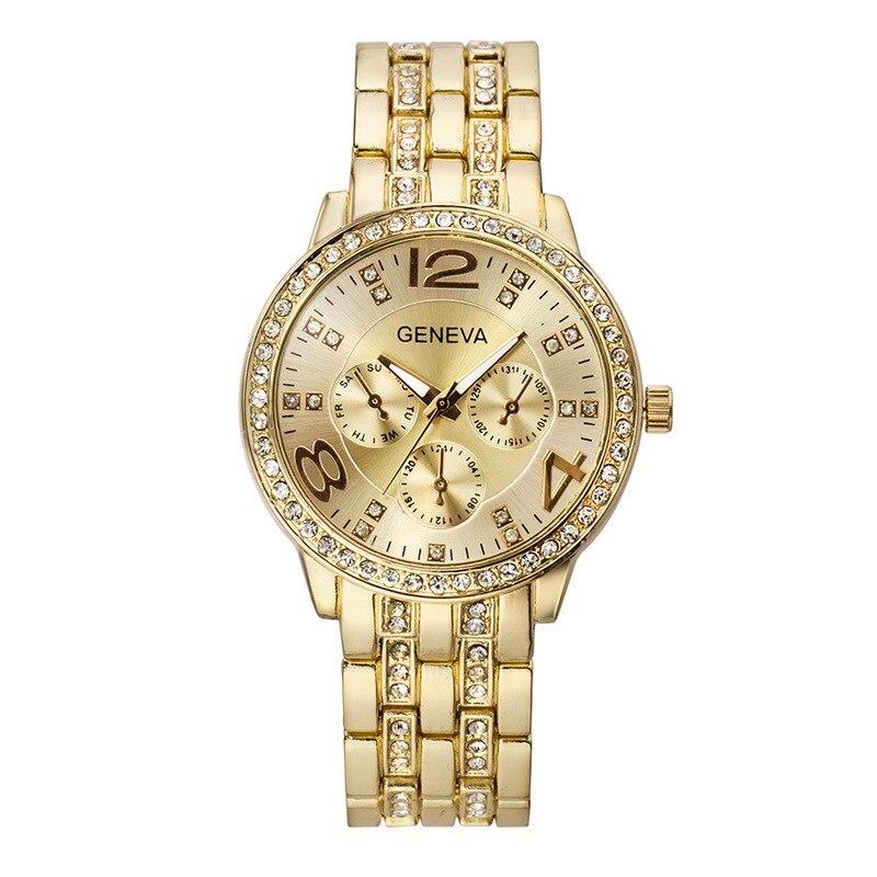Hot Sales Geneva Brand Stainless steel watch women men fashion Crystal dress quartz wristwatch Relogio Feminino