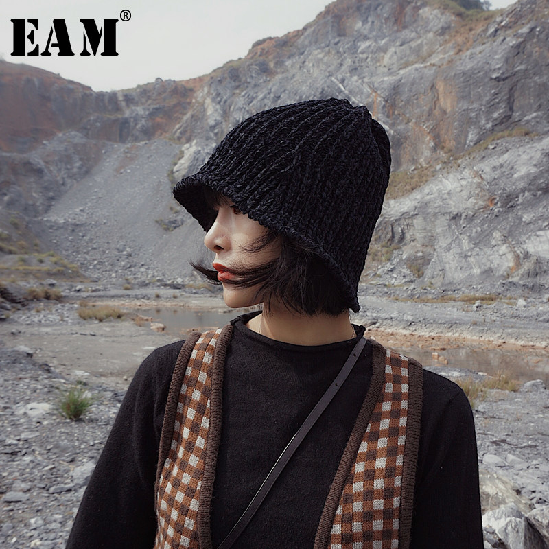 [EAM] 2020 Spring Winter Woman Stylish New Solid Six Colors Foldable Knitting Elastic Keep Warm Fishermen Hat All Match LG009