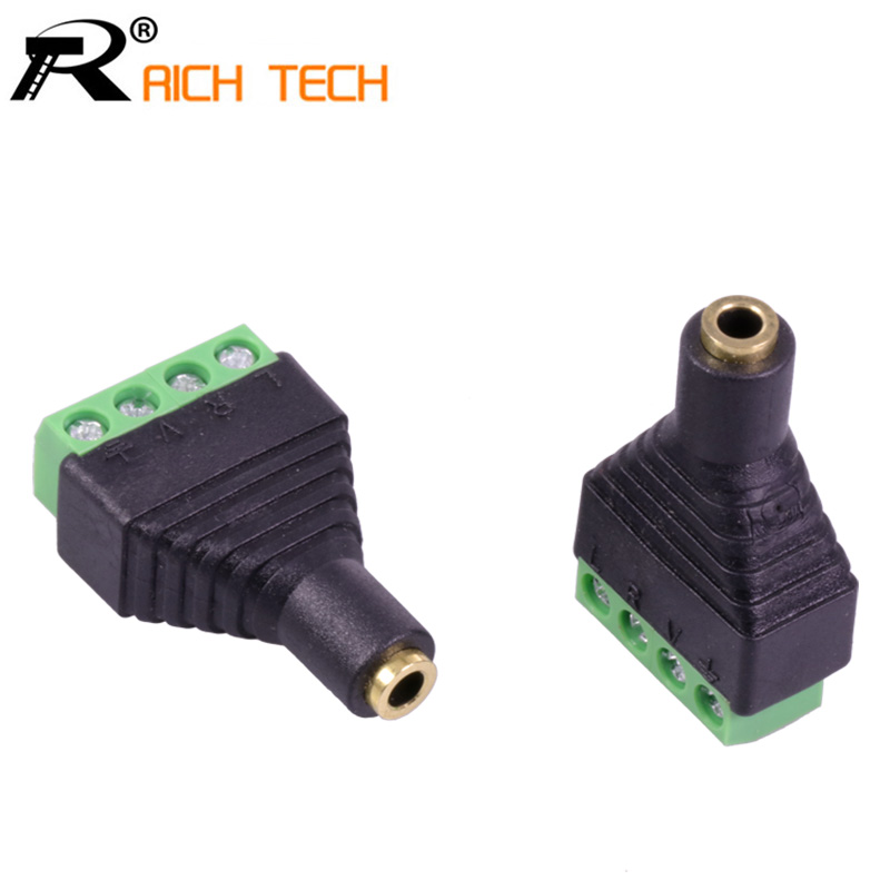 3pcs Video AV Balun 3.5mm 1/8stereo female to AV Screw Terminal Stereo jack 3.5 mm female 4 pin Terminal Block Plug connector [vk] 553602 1 50 pin champ latch plug screw connectors