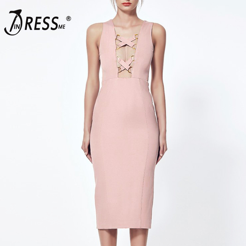 INDRESSME 2017 New Arrival Sexy Deep V Midi Sleeveless Solid Fashion Party Summer Women Lady Bandage Dress Femme Vestidos женское платье brand new 2015 v midi vestidos dress