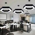 Moderne minimaliste led bureau creux hexagonal lustre personnalité créative nid d'abeille éclairage géométrique en forme de mosaïque lumière|Lampes à suspension| |  -