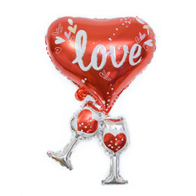 1pc New Cheers for Love Foil Balloon Heart Champagne Cup Helium Balloons Wedding Decoration Valentines Day Decor Supplies