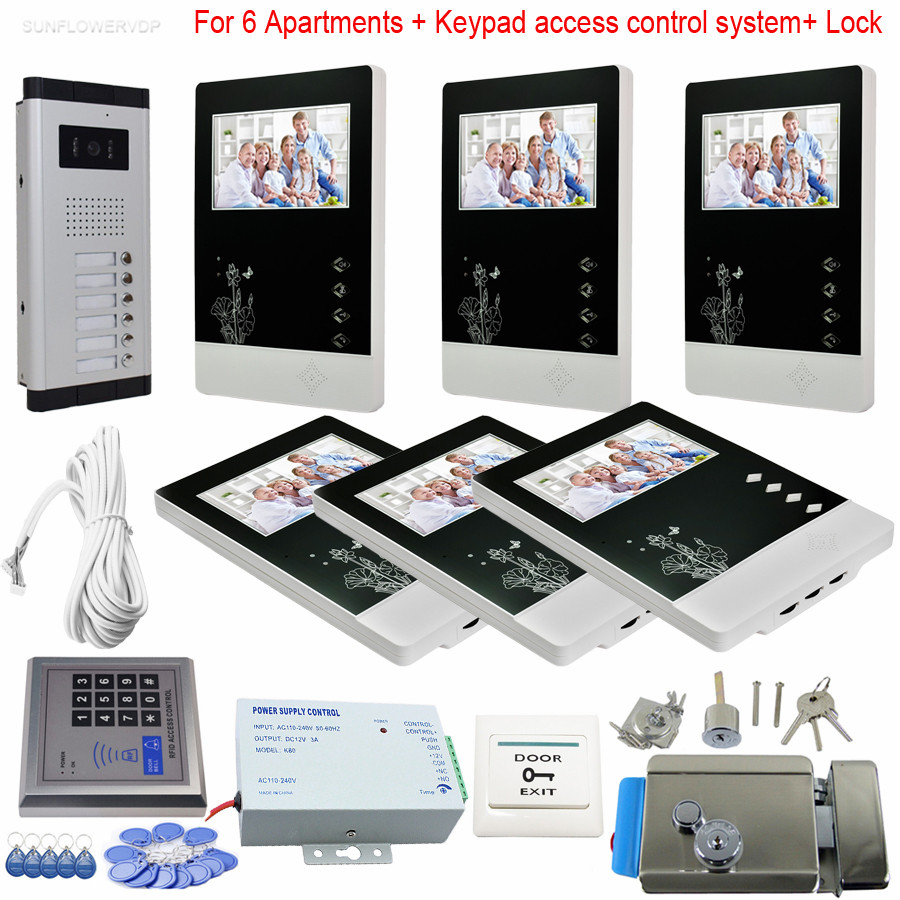 6 Units Home Video Door Phone 4.3 Inches LCD And 6 Buttons CCD Camera Video Intercoms With Eletronic Lock + Rfid Keypad System