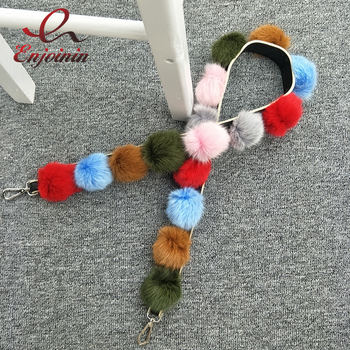 New fashion Fur color fur ball Pu Leather ladies handbag accessories women's shoulder strap  belt female handbag bag parts